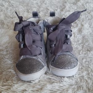 Cat & Jack gray high top velvet shoes